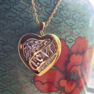 Jewelry - Gold Tone Love Heart Locket w/ Rhinestones